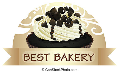 A best bakery label with a chocolate cupcake