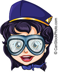 A head of an air hostess - Illustration of a head of an air...