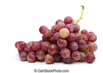 """Bunch of grapes (\""""Cardinal\"""" breed) isolated on the white..."""