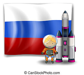 A Russian flag with an explorer beside a rocket -...