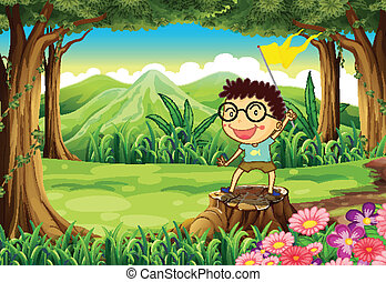 A boy above the stump holding a yellow banner - Illustration...
