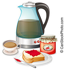 Apple jam and a pitcher of juice - Illustration of an apple...