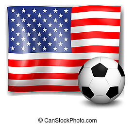 The flag of America with a soccer ball - Illustration of the...