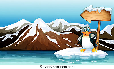 A penguin above the iceberg with an arrowboard -...