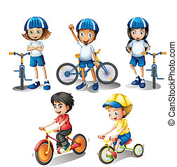 Kids with their bikes - Illustration of the kids with their...