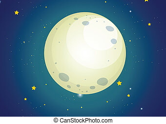 A sky with stars and a moon - Illustration of a sky with...