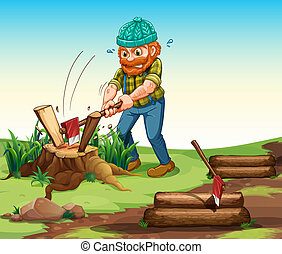 A lumberjack chopping woods - Illustration of a lumberjack...