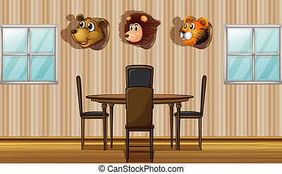 Stuffed animal decors inside the house - Illustration of the...