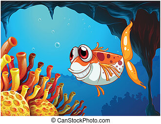 A smiling fish under the sea inside the cave - Illustration...