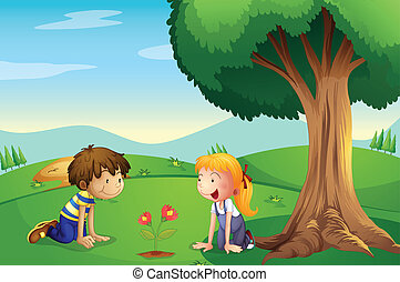 A girl and a boy watching the plant grow - Illustration of a...