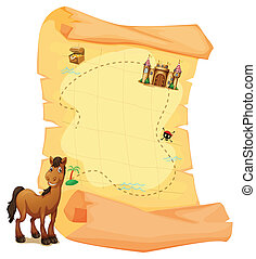 A treasure map and a smiling brown horse - Illustration of a...