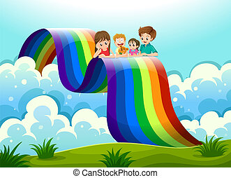 A family above the rainbow - Illustration of a family above...