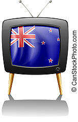 The flag of New Zealand inside the television - Illustration...