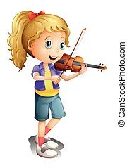 A girl playing with her violin - Illustration of a girl...
