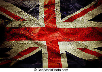 Union Jack - Closeup of Union Jack flag, with texture