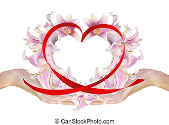 Valentines Day - Female Hands with Flowers Heart.Love...