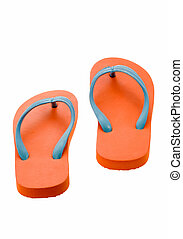 Flip Flops - A pair of orange flip-flops on a white...