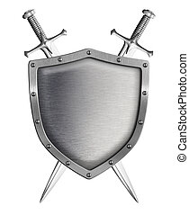metal shield with two crossed swords isolated on white