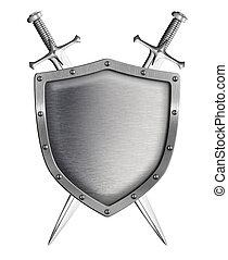 metal, escudo, dois, cruzado, espadas, isolado, branca