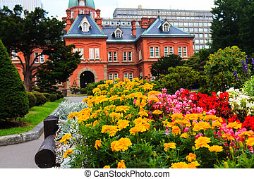 Flower with Former Hokkaido Government Office in Background.