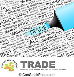 TRADE. Background concept wordcloud illustration. Print...