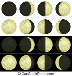 Moon phases, set - Space illustration of main lunar phases...