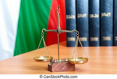 Symbol of law and justice and bulgarian flag