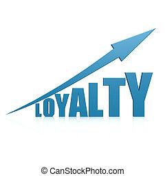 lealdade, azul, Seta
