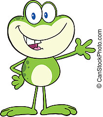 Frog Character Waving For Greeting - Cute Frog Cartoon...
