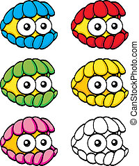 Cartoon clam - An illustration of a funny cartoon colorful...