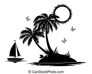 Island with palm and ship silhouettes - Ship, sun, tropical...