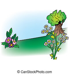 Flowers And Tree - Cartoon Background Illustration, Colored...