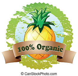 An organic label with pineapple fruit