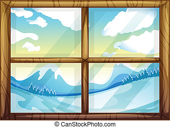 A view of the winter from the window - Illustration of a...