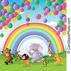 Animals racing below the floating balloons and rainbow