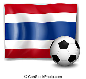 The flag of Thailand beside a soccer ball