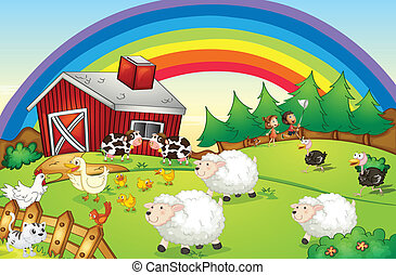 A farm with many animals and a rainbow in the sky -...