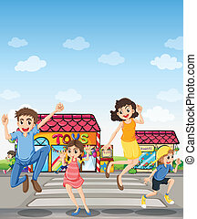 A pedestrian lane with a happy family - Illustration of a...