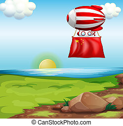 A balloon with the flag of China
