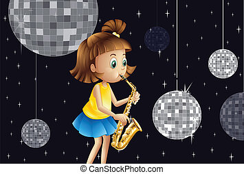A girl performing inside the disco house