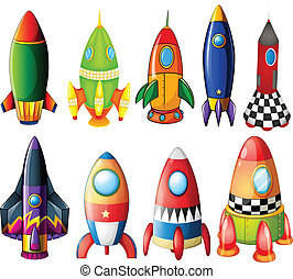 Colorful rockets - Illustration of the colorful rockets on a...