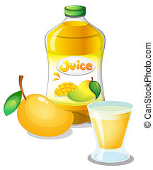 Mango juice drink - Illustration of a mango juice drink on a...
