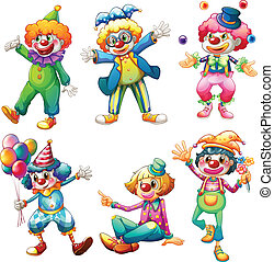A group of clowns - Illustration of a group of clowns on a...