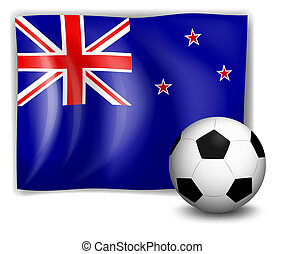 The flag of New Zealand with a soccer ball