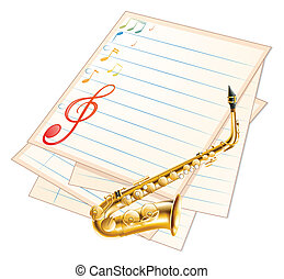 An empty musical paper with a saxophone