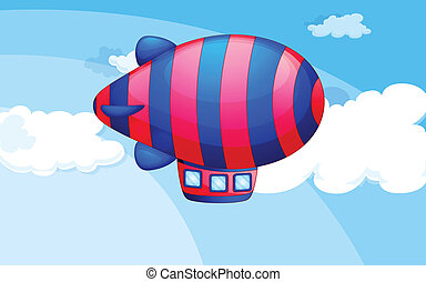 A stripe-colored airship in the sky - Illustration of a...