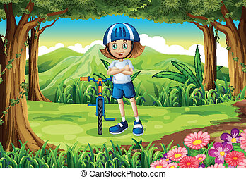 A girl and her bike at the forest