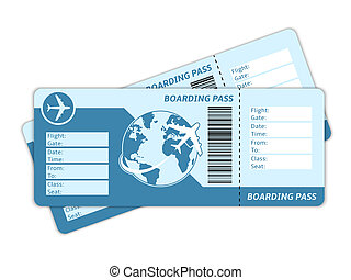 Blank plane tickets for business trip travel or vacation...