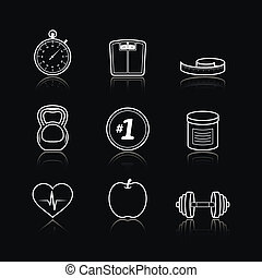 Fitness sport wellness healthcare icons set