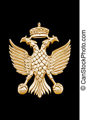 Golden two-headed eagle in black background